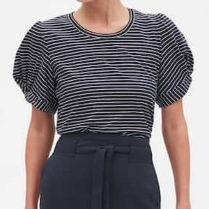 Banana Republic Stripe Twist Sleeve T Shirt-NWT-M